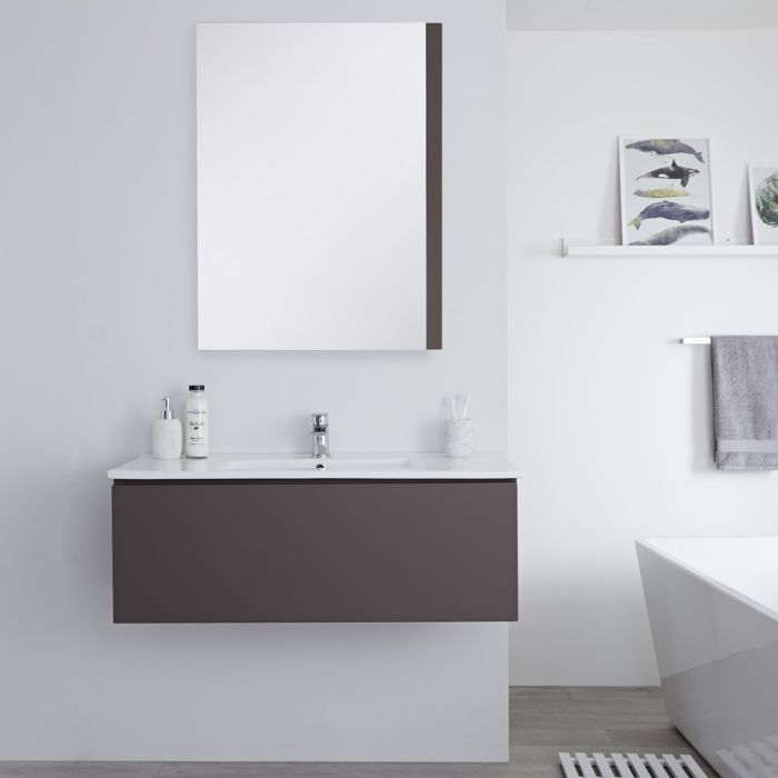 Milano Oxley - Grey 1000mm Wall Hung Vanity Unit with Basin