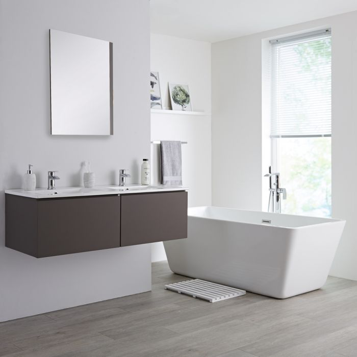 Milano Oxley - Grey 1200mm Wall Hung Vanity Unit with Double Basins