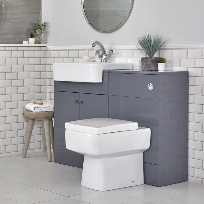 Milano Atticus - Grey Modern 1170mm Vanity and WC Combination Unit with Pan and Cistern