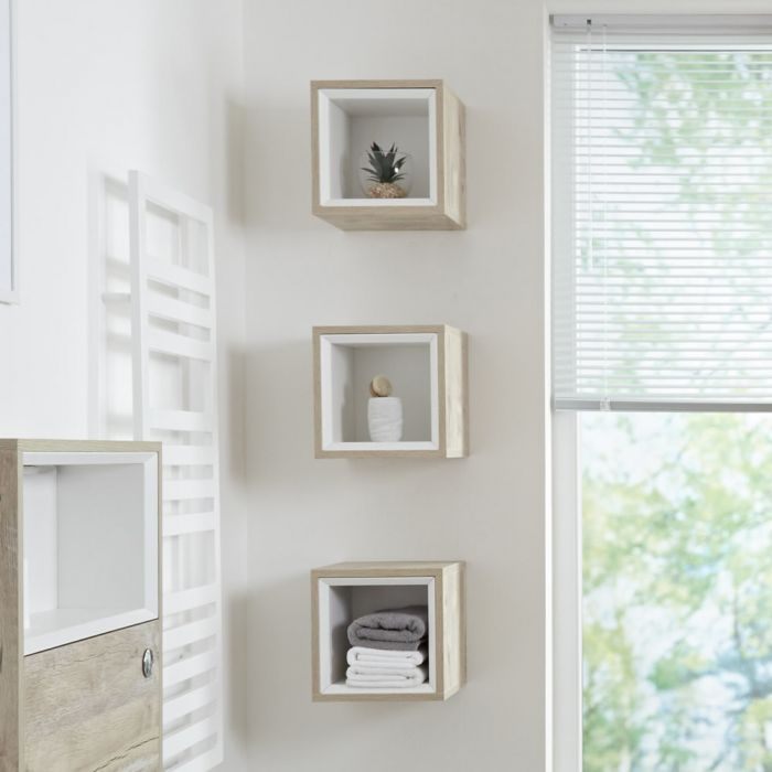 Milano Bexley - Light Oak Modern Single Wall Hung Open Storage Unit - 300mm x 300mm