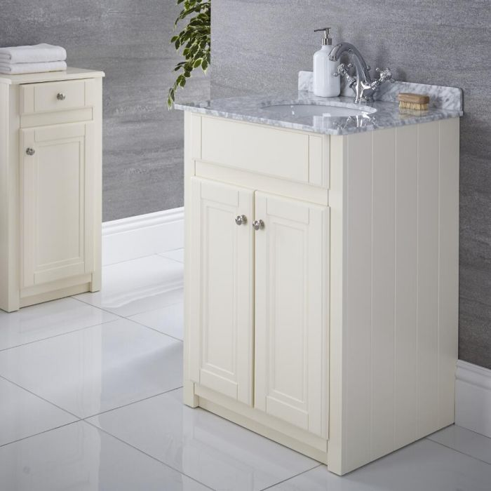 Milano Edgworth - Ivory and White Traditional 600mm Vanity Unit and Basin