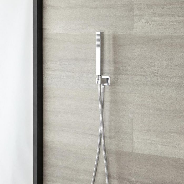 Milano Arvo - Modern Square Hand Shower with Integrated Wall Bracket and Outlet Elbow - Chrome