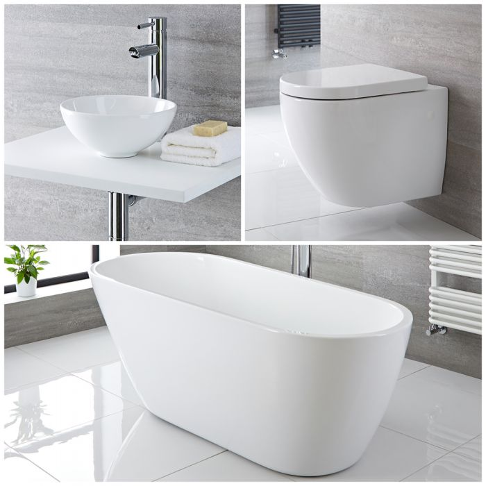 Milano Irwell - Complete Modern Bathroom Suite with Freestanding Bath and Taps