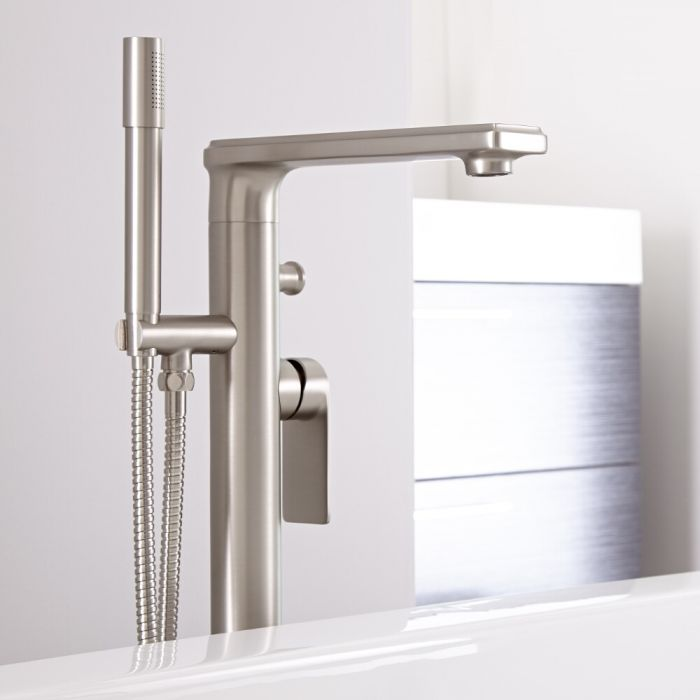 Milano Ashurst - Modern Freestanding Bath Shower Mixer Tap with Hand Shower - Brushed Nickel
