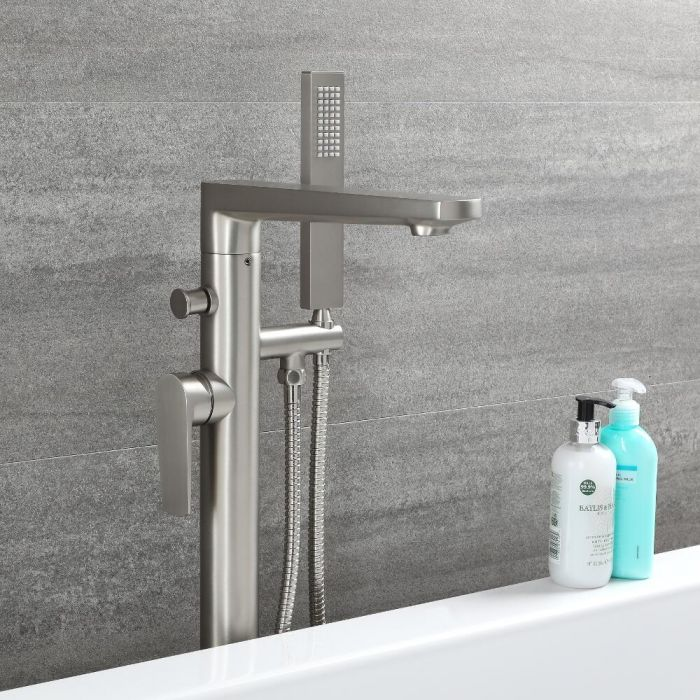 Milano Hunston - Modern Freestanding Bath Shower Mixer Tap with Hand Shower - Brushed Nickel