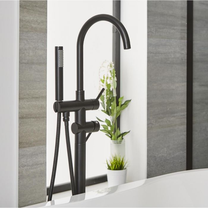Milano Nero - Modern Freestanding Bath Shower Mixer Tap with Hand Shower - Black