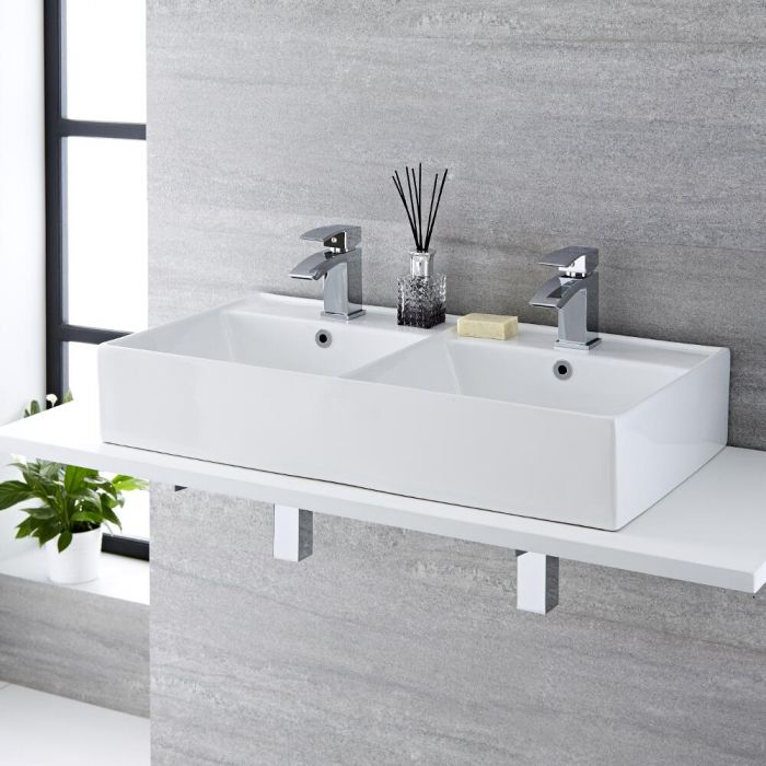 Milano Dalton - White Modern Rectangular Double Countertop Basin with 2 Mono Mixer Taps - 820mm x 420mm