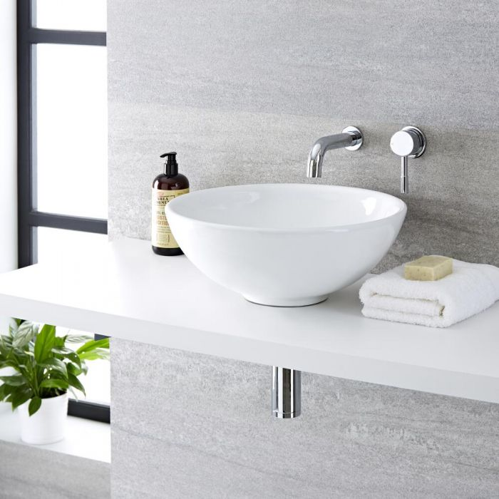 Milano Irwell - White Modern Round Countertop Basin with Wall Mounted Mixer Tap - 400mm x 400mm