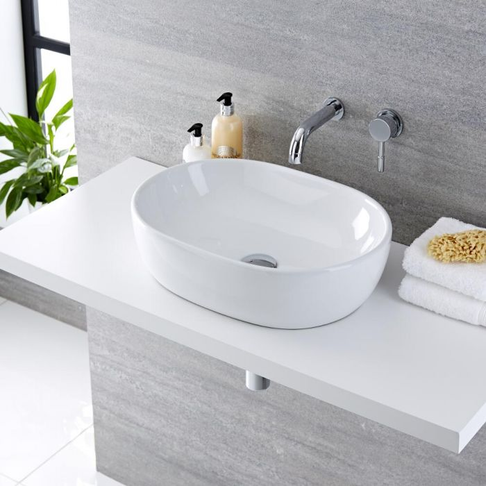 Milano Overton - White Modern Oval Countertop Basin with Wall Mounted Mixer Tap - 480mm x 350mm (No Tap-Holes)