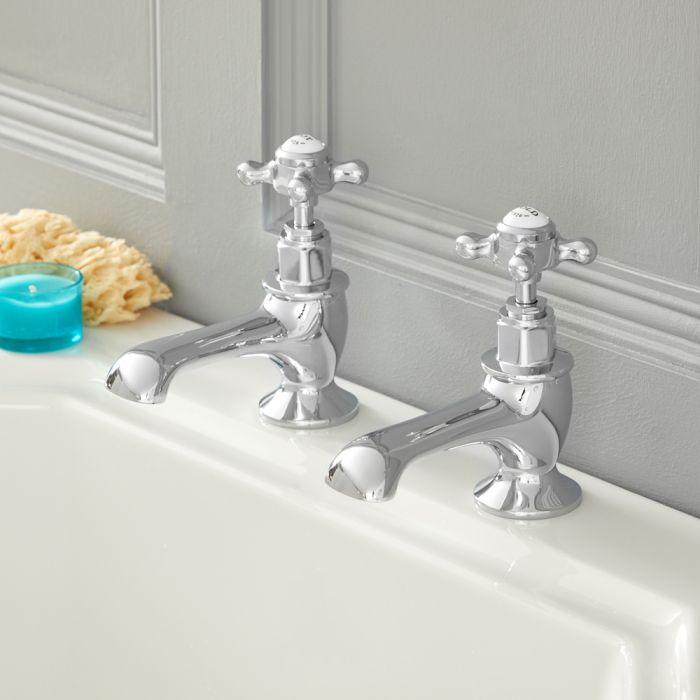 Milano Elizabeth - Traditional Crosshead Bath Pillar Taps - Chrome and White