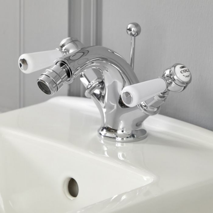 Milano Elizabeth - Traditional Lever Mono Bidet Mixer Tap - Chrome and White