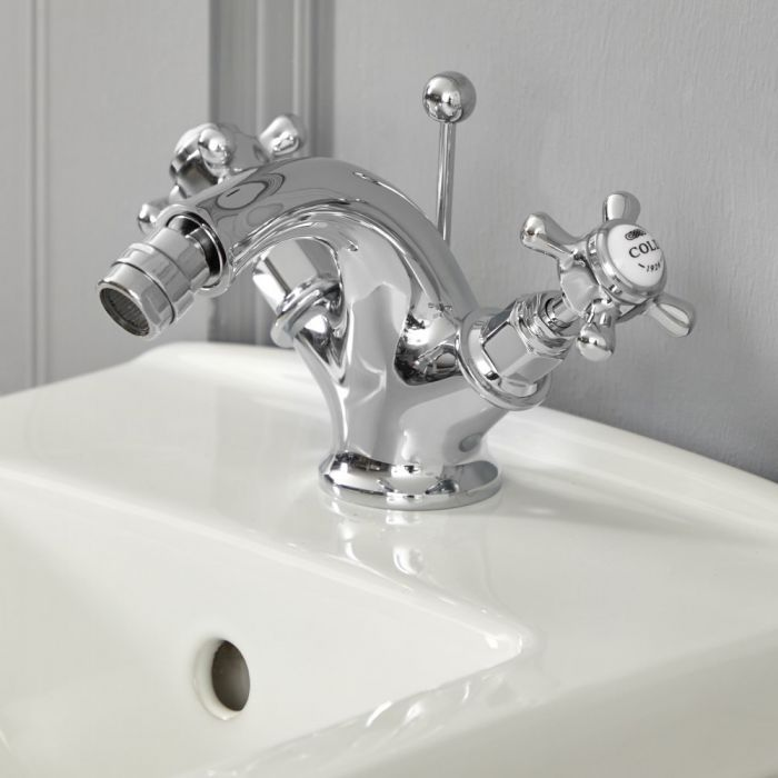 Milano Elizabeth - Traditional Crosshead Mono Bidet Mixer Tap - Chrome and White