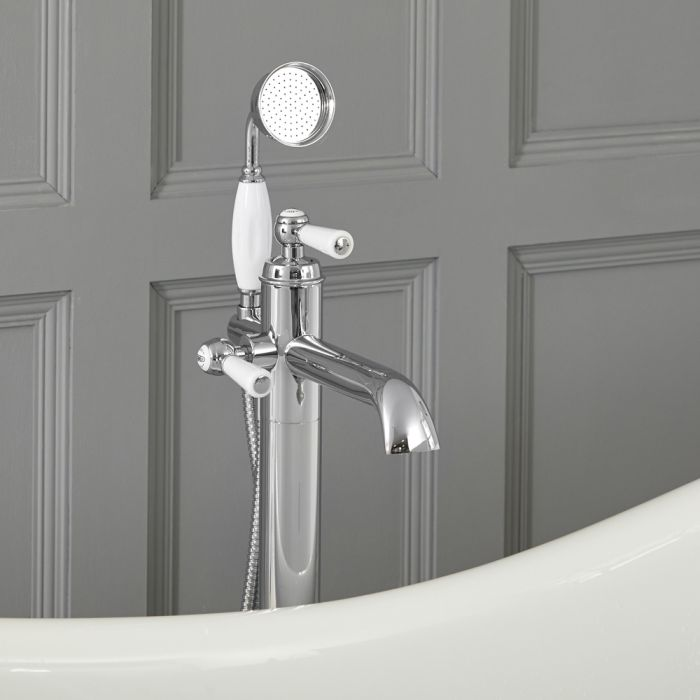 Milano Elizabeth - Traditional Freestanding Mono Bath Shower Mixer Tap with Hand Shower - Choice of Finish