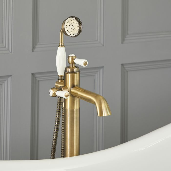 Milano Elizabeth - Traditional Freestanding Mono Bath Shower Mixer Tap with Hand Shower - Brushed Gold