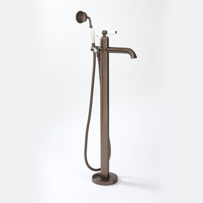 Milano Elizabeth - Traditional Freestanding Mono Bath Shower Mixer Tap with Hand Shower - Oil Rubbed Bronze