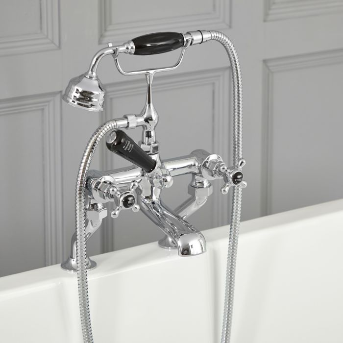 Milano Elizabeth - Traditional Crosshead Bath Shower Mixer Tap - Chrome and Black