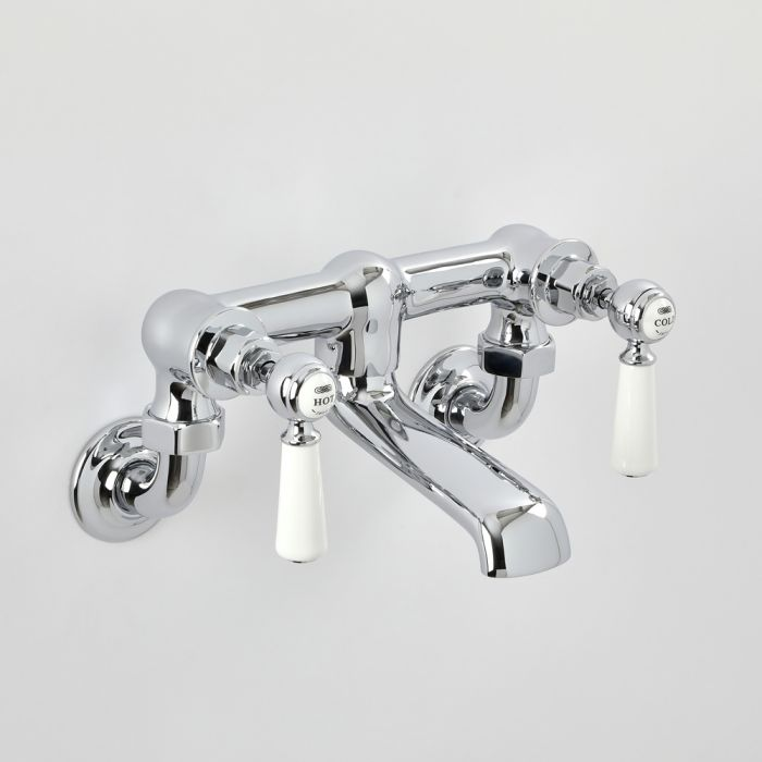 Milano Elizabeth - Traditional Wall Mounted Lever Bath Filler Tap - Chrome and White