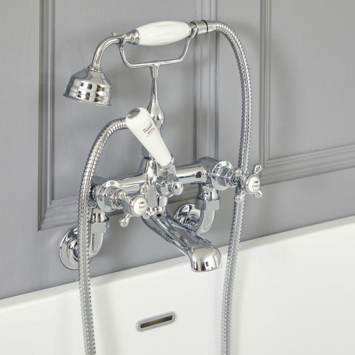 Milano Elizabeth - Traditional Wall Mounted Crosshead Bath Shower Mixer Tap - Choice of Finish