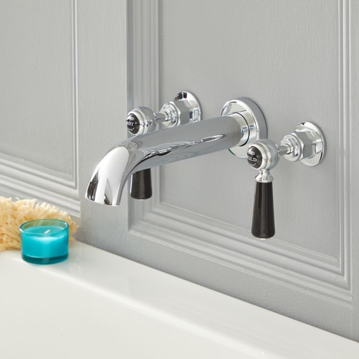 Milano Elizabeth - Traditional Wall Mounted 3 Tap-Hole Lever Bath Filler Tap - Chrome and Black