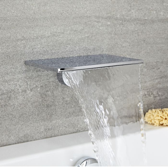 Milano Blade - Modern Wall Mounted Waterfall Bath Filler Spout - Chrome