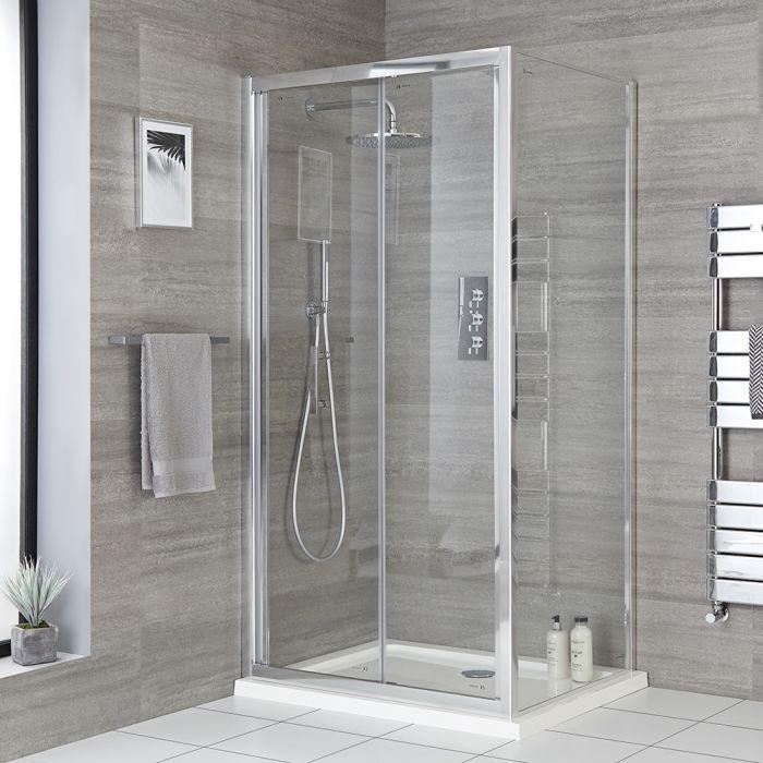 Milano Portland - Corner Bi-Fold Shower Door Enclosure with Tray - Choice of Sizes