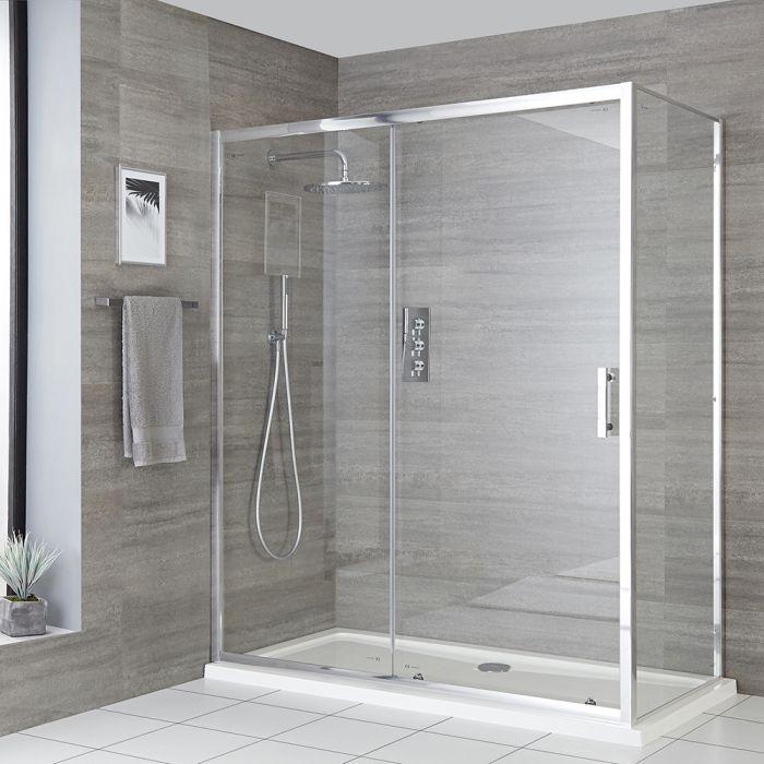 Milano Portland - Corner Sliding Door Shower Enclosure with Tray - Choice of Sizes