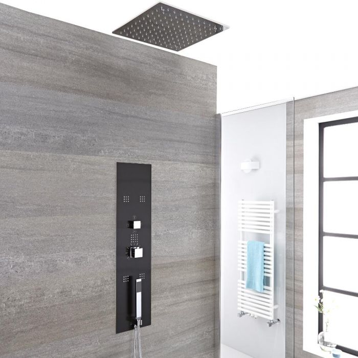 Milano Lisse - Modern Concealed Shower Tower Panel with Square Recessed Ceiling Shower Head, Hand Shower and Body Jets - Chrome and Grey