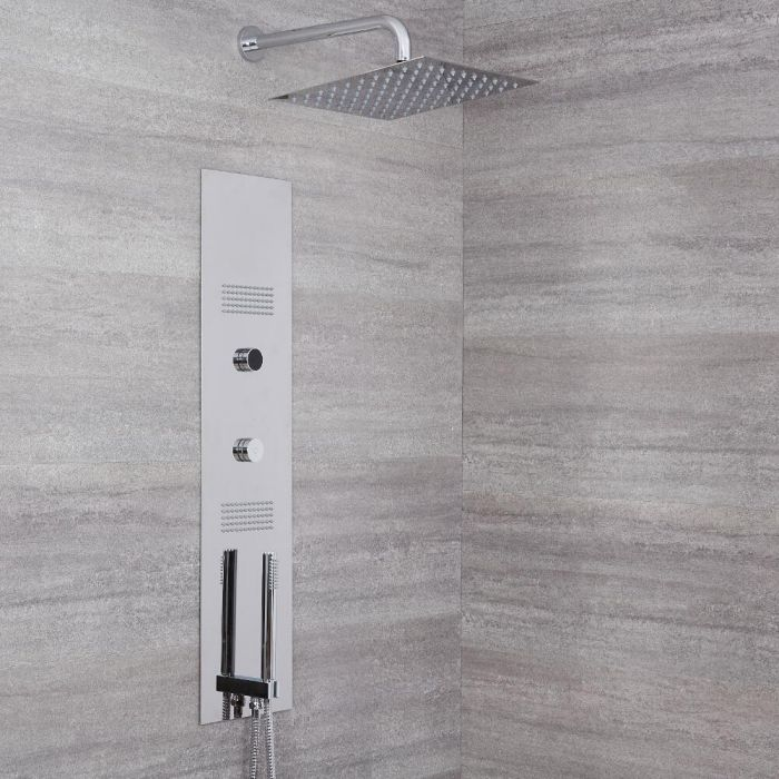 Milano Vis - Concealed Digital Shower Tower Panel with 300mm Square Shower Head and Wall Arm, 2 Body Jets and Hand Shower