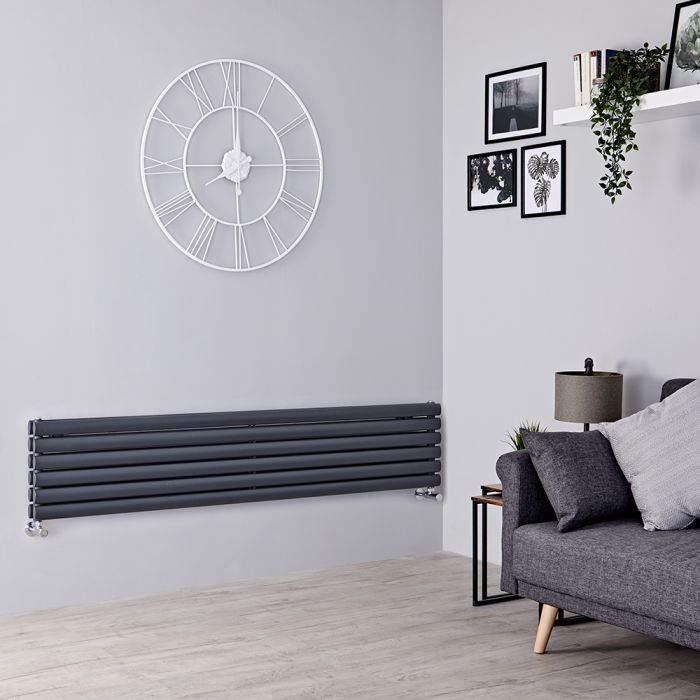 Milano Aruba - Anthracite Horizontal Designer Radiator - 354mm x 1600mm (Double Panel)