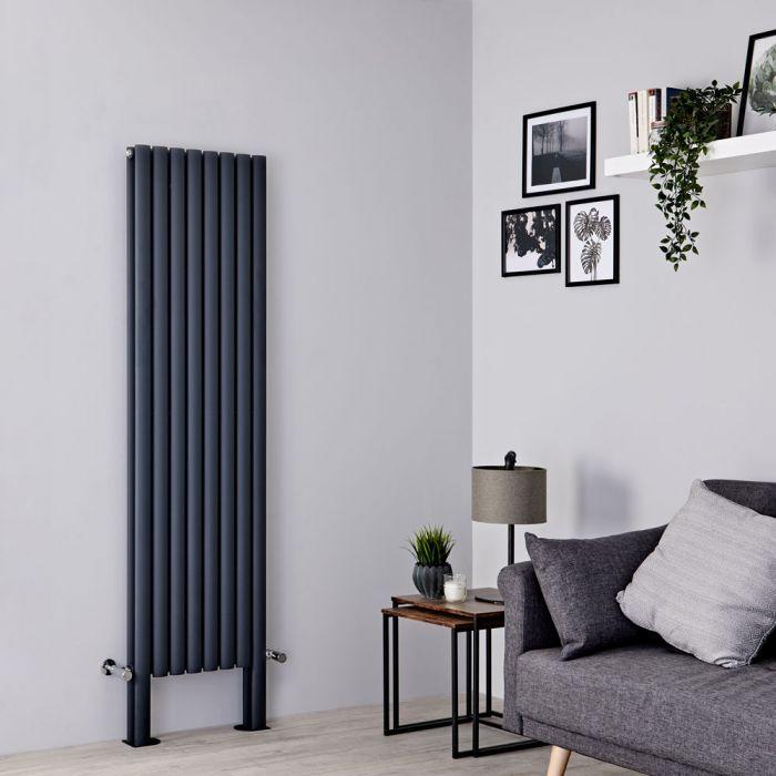 Milano Aruba Plus - Anthracite Vertical Designer Radiator - 1800mm x 472mm (Double Panel)