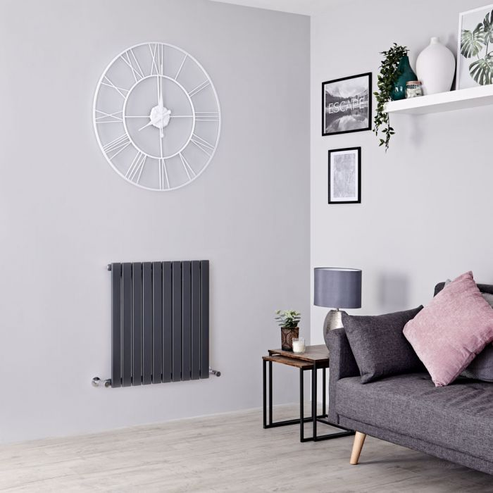 Milano Capri - Anthracite Flat Panel Horizontal Designer Radiator - 635mm x 600mm