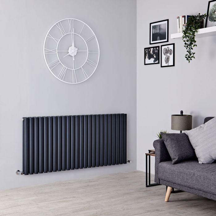 Milano Aruba - Anthracite Horizontal Designer Radiator - 635mm x 1411mm (Double Panel)