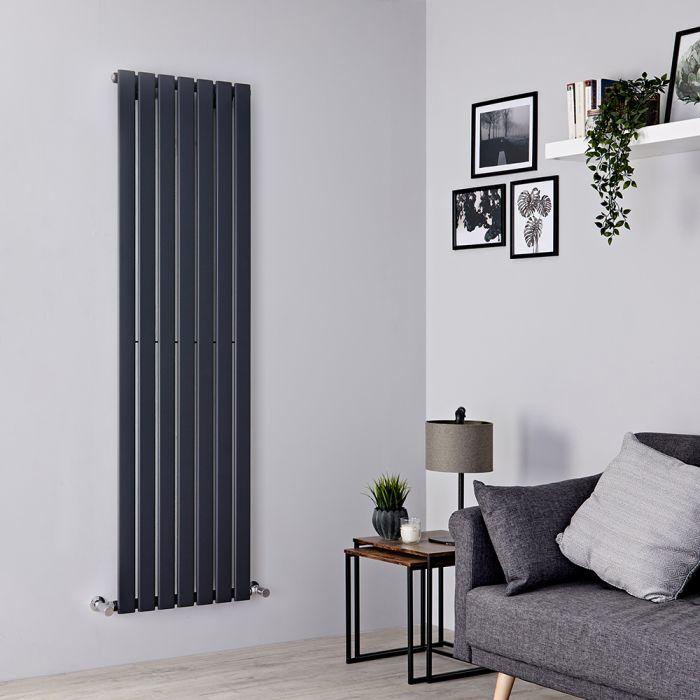 Milano Alpha - Anthracite Flat Panel Vertical Designer Radiator - 1600mm x 490mm