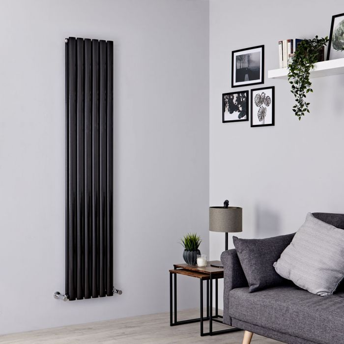 Milano Aruba - Black Vertical Designer Radiator - 1600mm x 354mm (Double Panel)