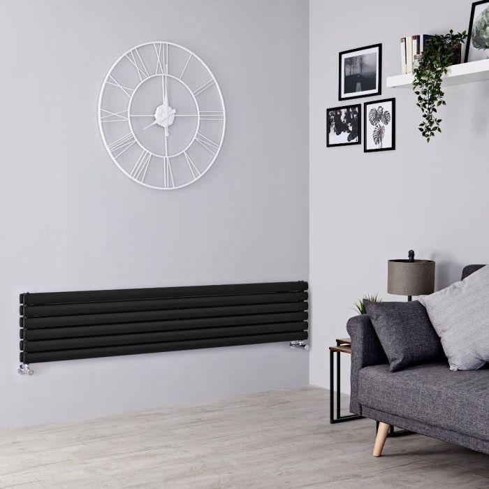 Milano Aruba - Black Horizontal Designer Radiator - 354mm x 1600mm (Double Panel)