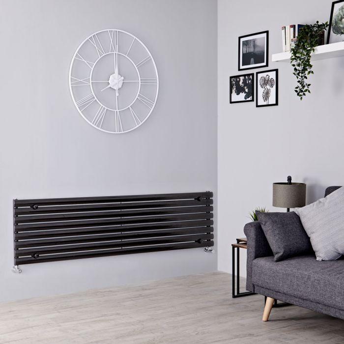 Milano Aruba - Black Horizontal Designer Radiator - 472mm x 1600mm
