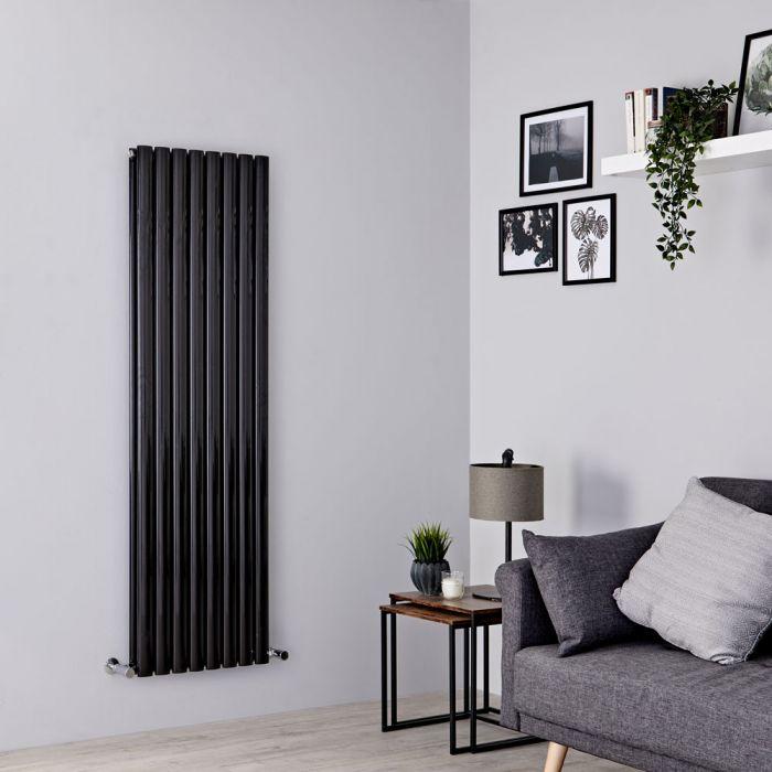 Milano Aruba - Black Vertical Designer Radiator - 1600mm x 472mm (Double Panel)