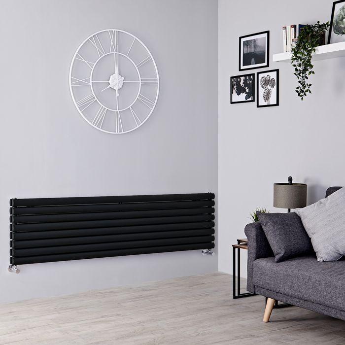 Milano Aruba - Black Horizontal Designer Radiator - 472mm x 1600mm (Double Panel)