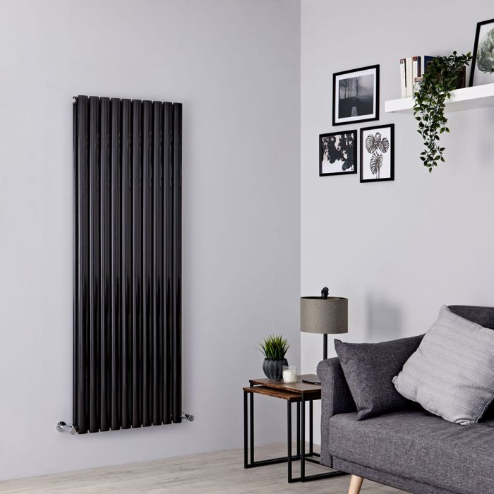 Milano Aruba - Black Vertical Designer Radiator - 1600mm x 590mm (Double Panel)