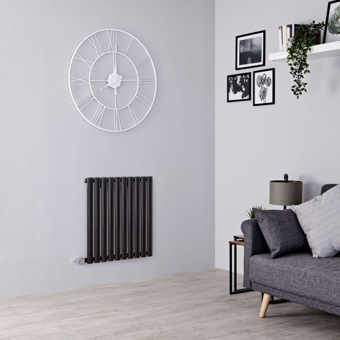 Milano Aruba Electric - Black Horizontal Designer Radiator - 635mm x 595mm