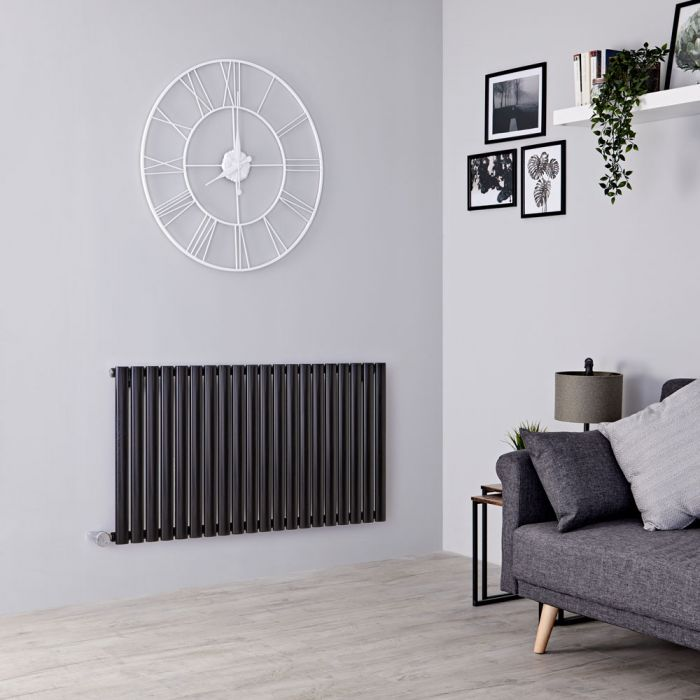 Milano Aruba Electric - Black Horizontal Designer Radiator - 635mm x 1180mm