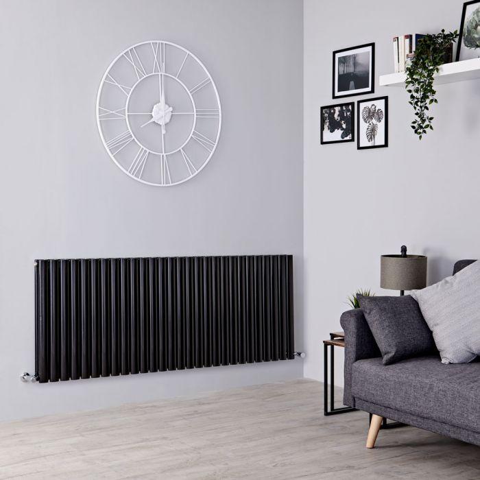 Milano Aruba - Black Horizontal Designer Radiator - 635mm x 1647mm (Double Panel)