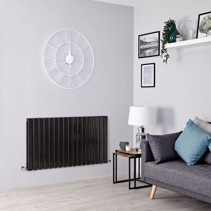 Milano Alpha - Black Flat Panel Horizontal Designer Radiator - 635mm x 1190mm (Double Panel)