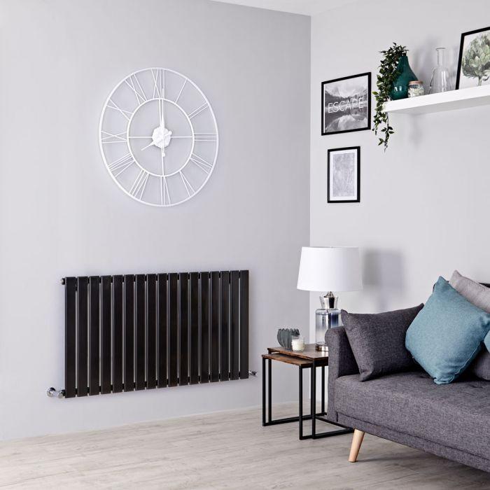 Milano Alpha - Black Flat Panel Horizontal Designer Radiator - 635mm x 1190mm