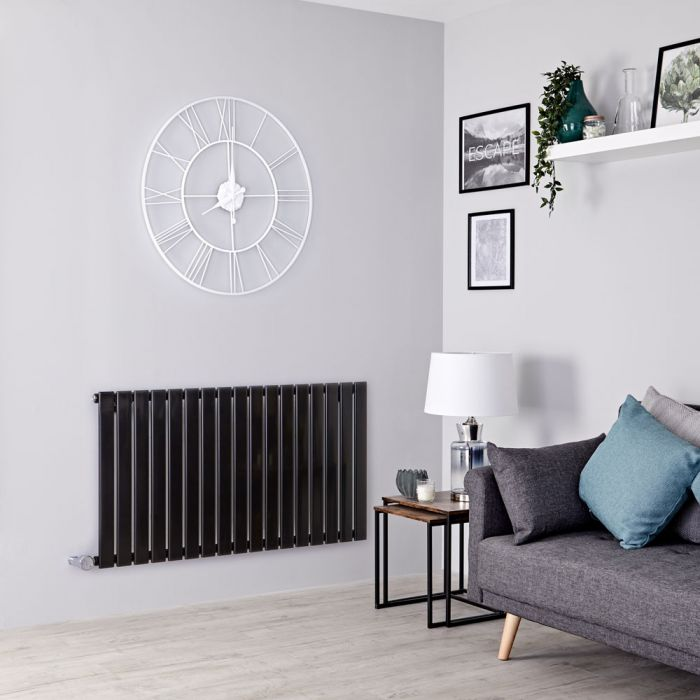 Milano Alpha Electric - Black Horizontal Designer Radiator - 635mm x 1190mm