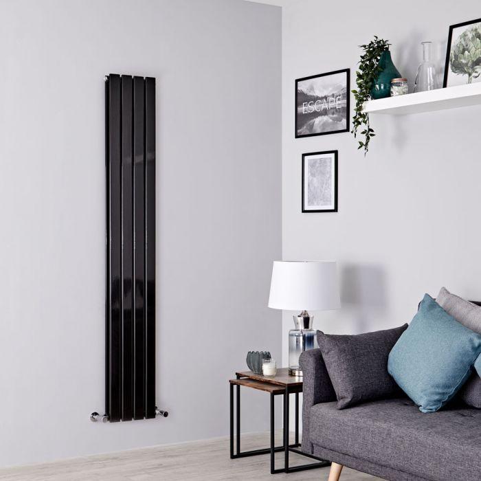 Milano Alpha - Black Flat Panel Vertical Designer Radiator - 1600mm x 280mm (Double Panel)