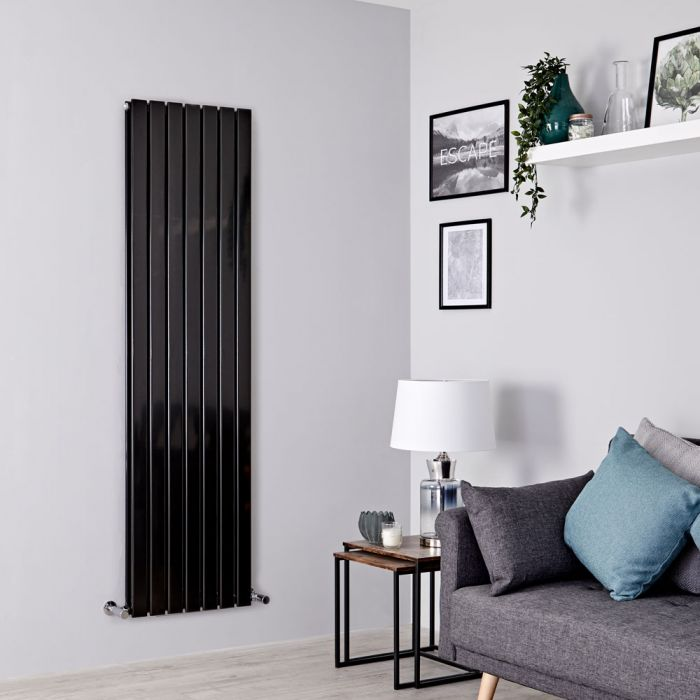 Milano Alpha - Black Flat Panel Vertical Designer Radiator - 1600mm x 490mm (Double Panel)