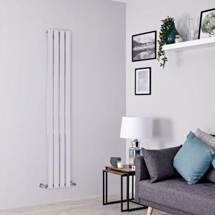 Milano Alpha - Chrome Flat Panel Vertical Designer Radiator - 1600mm x 300mm