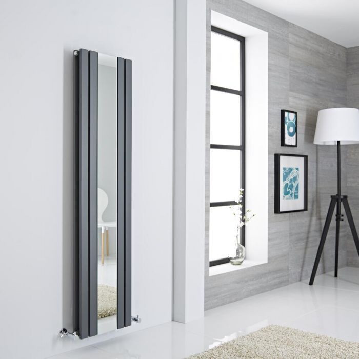 Milano Icon - Anthracite Vertical Designer Radiator With Mirror - 1600mm x 385mm