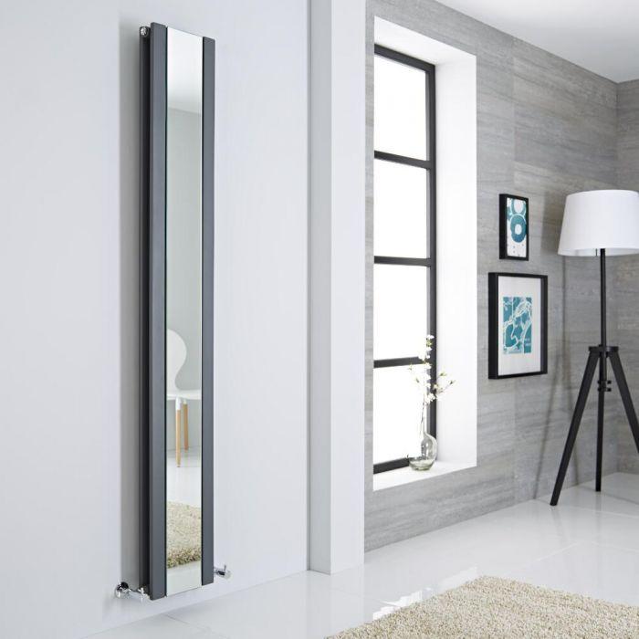 Milano Icon - Anthracite Vertical Designer Radiator With Mirror - 1800mm x 265mm